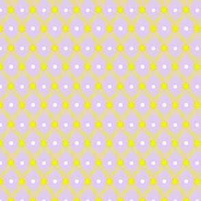 1830s Medium Yellow on Lavender Sprigs Dots