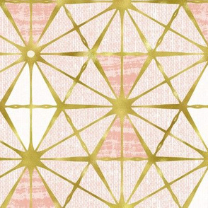 Luminous - Gilded Blush Pink Geometric Large Scale