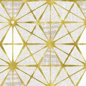 Luminous - Gilded Neutral Stone Grey Geometric Large Scale