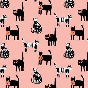 Halloween Cats on pink - mini