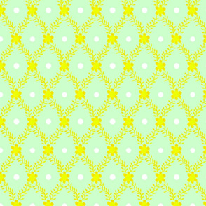 1830s Grande Yellow on Mint Sprigs Dots