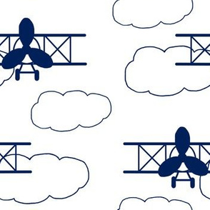 Vintage Airplane Navy Blue