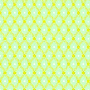 1830s Medium Yellow on Mint Sprigs Dots