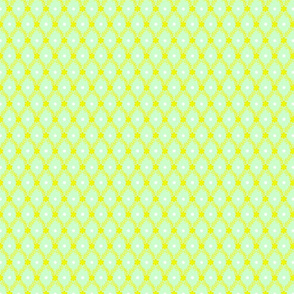 1830s Petite Yellow on Mint Sprigs Dots