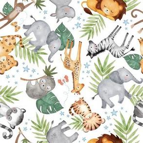 Jungle Friends (white) - Kids Safari Animal Nursery Bedding, Lion Elephant Giraffe Zebra Rhino Cheetah, SMALLER scale