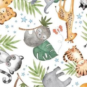 Jungle Friends (white) - Kids Safari Animal Nursery Bedding, Lion Elephant Giraffe Zebra Rhino Cheetah, LARGER scale