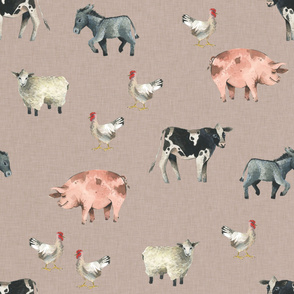 Gentle Farm Animals on Linen - Large