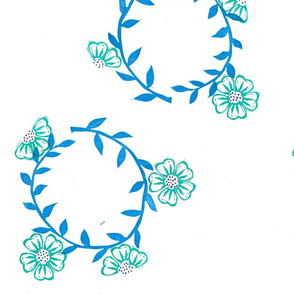 Blue and teal flower wreaths pattern