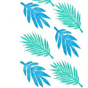 Blue and teal tropical leaves pattern