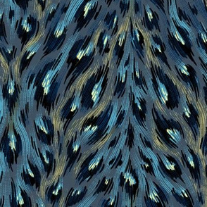 Leopard Print - Petrol Blue / Gold