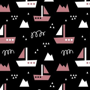 Abstract Sailboat - on black with Antique pink