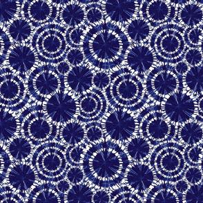 Shibori 02 blue circles wheels overlap
