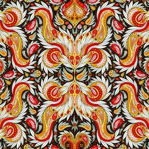 Paisley Pattern in Red, Yellow, Orange, Black & White