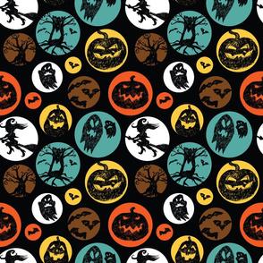 Halloween sketch black polkadot circles