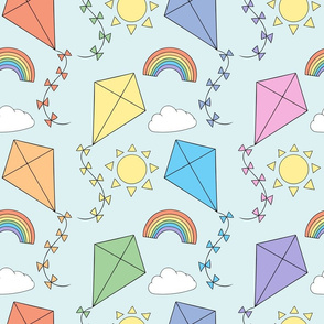Let's go fly a kite - pastel rainbow (large)