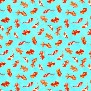 Aqua Watercolor Goldfish Pond (Small Scale)