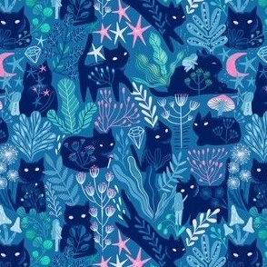SMALL Meowgical friends - Anya & Misha cat fabric pattern.