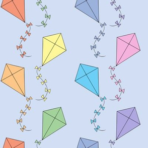 Pastel kites on blue (small)