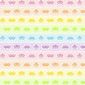 Pastel Rainbow Space Invaders Small Size
