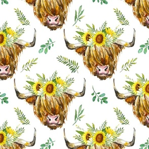 Highland Cow with a Sunflower Garland - medium scale