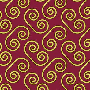 Yellow Swirls Red