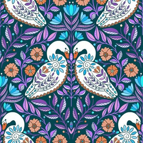 Dancing White Swans at Dawn, folk art florals and flowers, botanical leaves, purple red bright colors