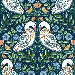 Dancing White Swans at Dawn, folk art florals and flowers, botanical leave, green blue