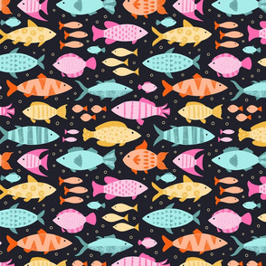 Brightly Colored Fish Swim at the Lake