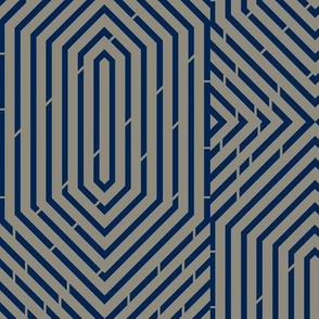 Labyrinth Geometric in Navy & Gray Area