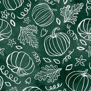 Watercolor Line Art Pumpkins - Green