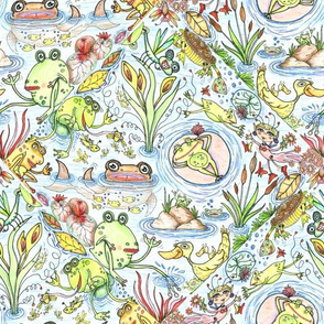 lush life at the lake tiles, large scale, blue yellow pink brown red green whimsical cute colorful