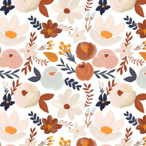 earth tone florals on white - small