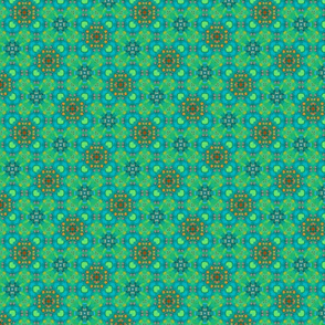 Abstract Quilters circles in greens, blues and oranges