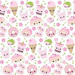 Happy Cherry Blossom Sakura Desserts White