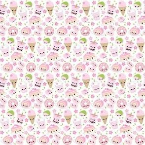 Happy Cherry Blossom Sakura Desserts White - Small