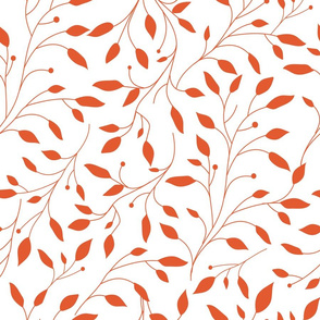 Red leaves on white, national pattern