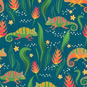 chameleons on blue linen