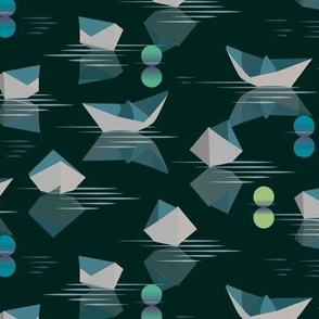 Paper Boat Races deep green