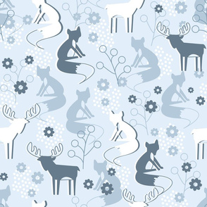 Scandinavian winter pattern with foxes and deers