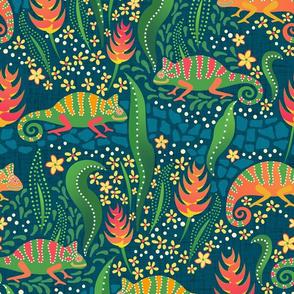 chameleons among flowers on dark blue linen