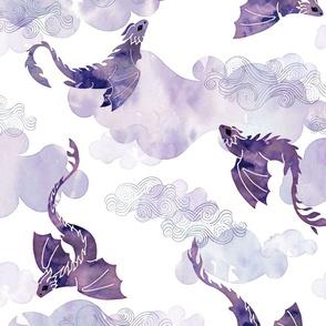 Dragons clouds purple