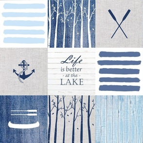 Day at the lake wholecloth patchwork blanket in blue gray