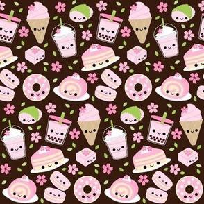 Happy Cherry Blossom Sakura Desserts Brown