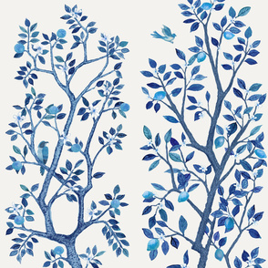 Custom Vibrant Blue Trees 3 yard Panels