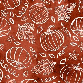 Watercolor Line Art Pumpkins - Cinnamon