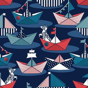 Small scale // Origami dog day at the lake // oxford navy blue background red teal and blue origami sail boats with cute Dalmatian