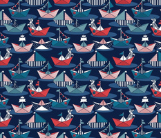Small scale // Origami dog day at the lake // navy blue background red teal and blue origami sail boats with cute Dalmatian