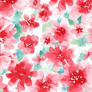 Lovely Red Floral Watercolor