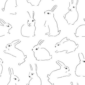 Sketched lineart bunnies rabbits Easter rabbits