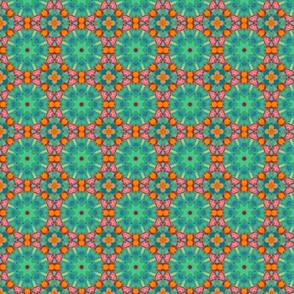 Abstract circles 9n greens, oranges, pinks